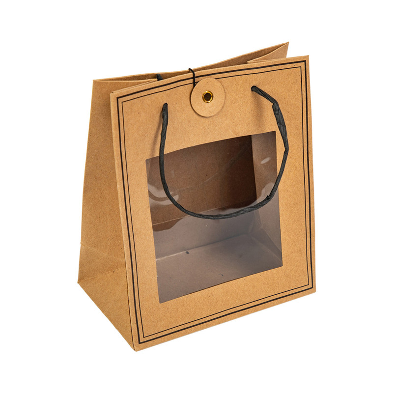 craft paper bag paper twisted handle transparent window on front