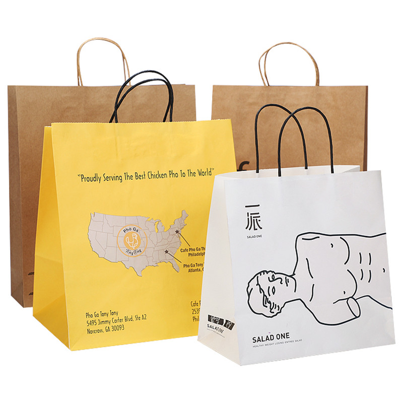 Wholesales Custom Logo Printed Cheap Recycled Take Away Food Packaging Shopping Brown Paper Bag With TwistedFlat Handles