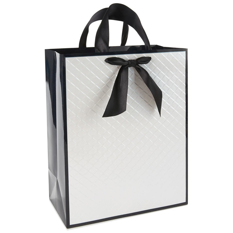 silver foiled elegance paper bag bowknot