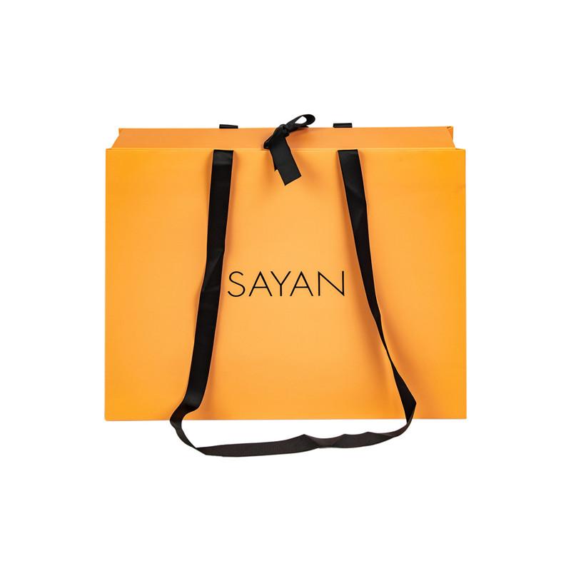 SAYAN grossgrain handle ribbon bow paper bag with top cover